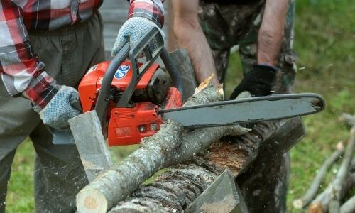 cutting wood slices with a chainsaw directly